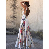 Sexy Floral Print Women Summer Sleeveless Backless Vintage Long Boho Party Cocktail Casual Loose Beach Pink Dress