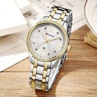 CURREN Luxury Fashion Women's Watches Quartz Watch Bracelet Auto Date Wristwatches Stainless Steel Bracelet Women Watch 9010