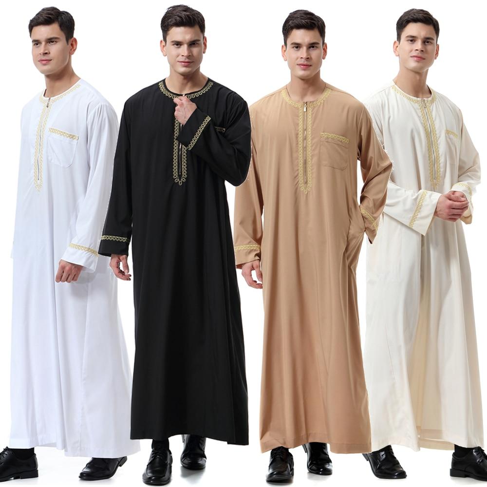 New Black Jubba Thobe Islamic Clothing Men Caftan Homme Zipper Arabic Djellaba Homme Pakistan Robe Muslim Djellaba Men Islam