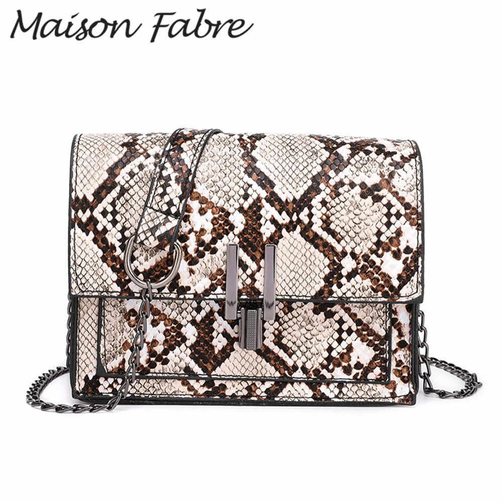 Casa Fabre bolso de hombro de cuero de mujer bolso de cadena de estampado de serpiente bolso de diseñador de teléfono bolsos de mano de moda de verano 2019 Bolsos De Mujer