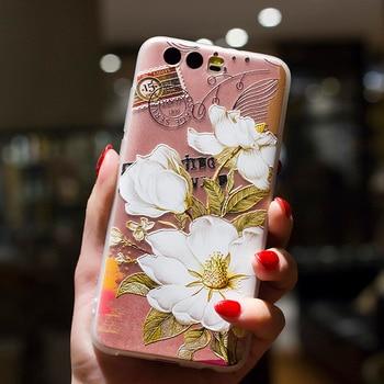 Silicone flower case huawei p10 p10 plus high quality ultra-thin soft TPU