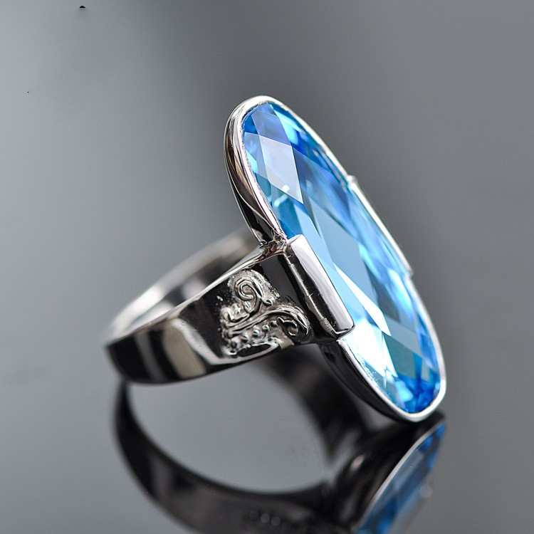 New S925 sterling silver ring blue crystal silver ring ladies jewelry original silver jewelry free shippingNew S925 sterling silver ring blue crystal silver ring ladies jewelry original silver jewelry free shipping