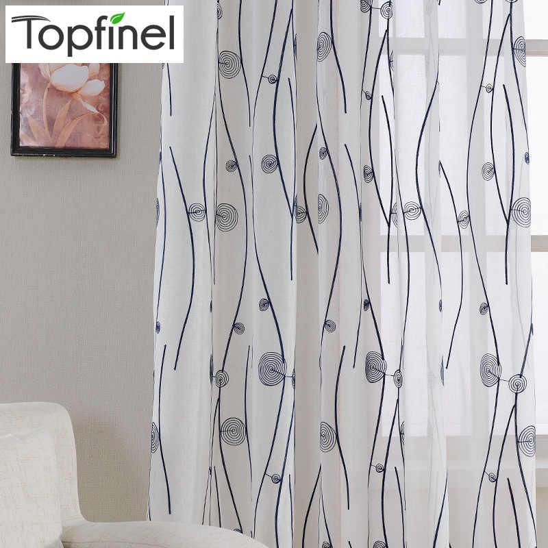 Topfinel טבעי רקום Sheer וילונות לסלון חדר שינה אלגנטי חוט וילונות רקמה לבן וואל וילונות פנל