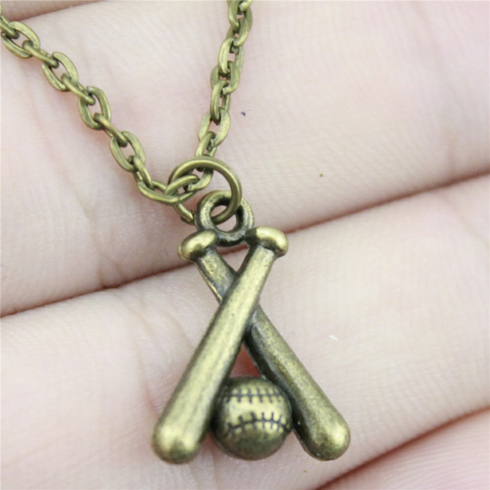 Wholesale Price 19*13mm (0.75*0.51 inches) Baseball Pendant Link Chain Necklace For Women Fashion Jewelry Necklace