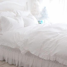 Full white ruffle lace bedding set luxury princess bedding satin drill cotton duvet cover elegant bedspread bed sheet pillowcase
