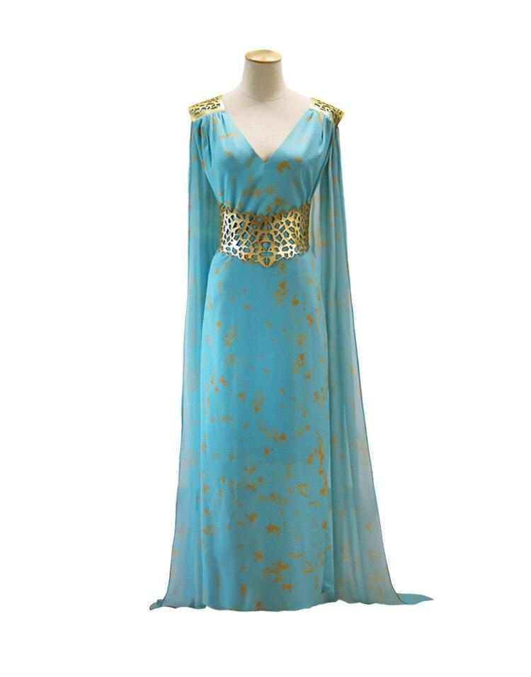 Daenerys Targaryen Costume Mhysa Khaleesi Dresses Women Adult Game Of Thrones Cosplay Blue Chiffon Hallowenn Female Fantasias