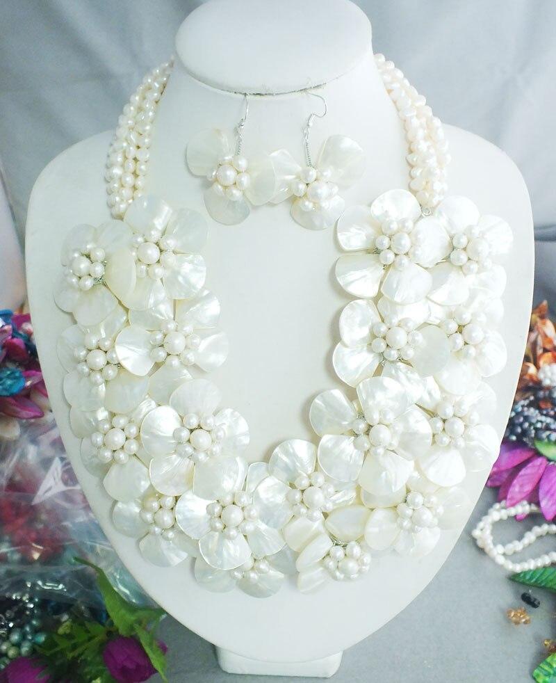 Naturalne Sea Shell kwiaty naszyjnik zestawy ręcznie robiony kwiat z białą perłą kobiet biżuteria muszla kwiaty w Zestawy biżuterii od Biżuteria i akcesoria na  Grupa 1