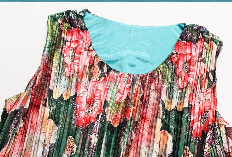 Mignon grande taille robes d'été femmes émeraude grande taille 6xl Rinkled plissée Satin robe à fleurs vert longue robe Maxi Vestido Largo - 2