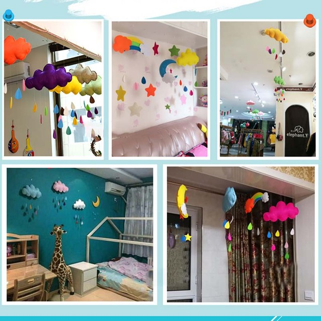 Baby Room Decor Kids Stuff Cloud Raindrop Wall Mounted Toy Bedroom Decoration Present