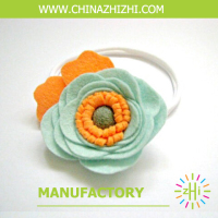 2018 new unique product ideas Kids Headband wool ball orange Hair Band felt girls green flower headbands