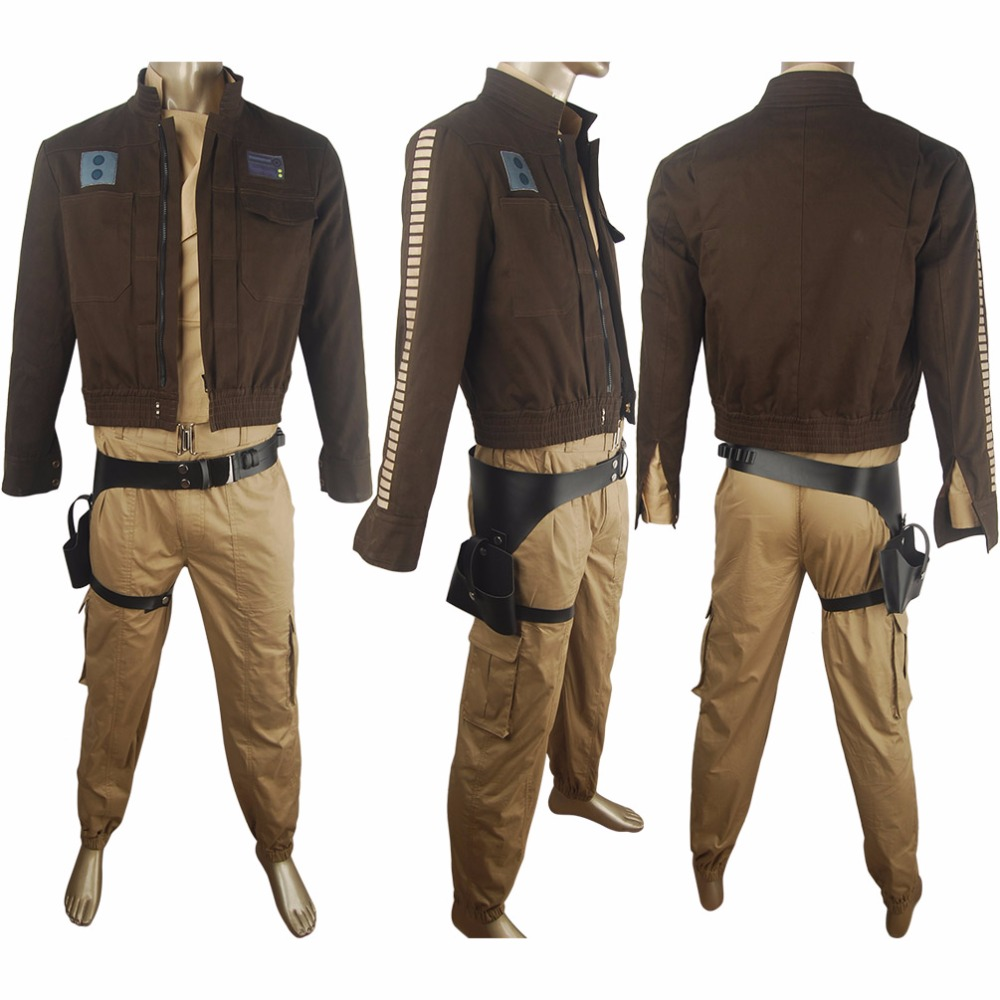 Men's boys Rogue One: A Star Wars Story Captain Cassian Andor costume deluxe unique halloween make-up costume sci-fi outfit
