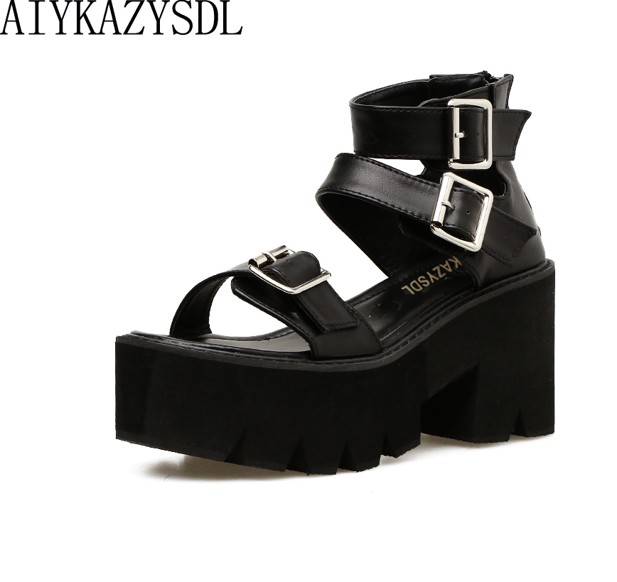 AIYKAZYSDL Preppy Style Women Gladiator Sandals Metal Buckle Ankle Strap Shoes Platform Thick Bottom Block High Heel Creepers