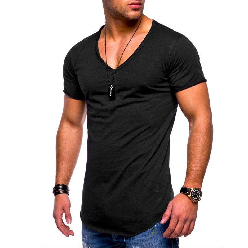2018 Nova Chegou Profundo V pescoço camisa dos homens t de manga curta Slim Fit t-shirt dos homens Magro ocasional tshirt verão camisetas hombre M-3XL