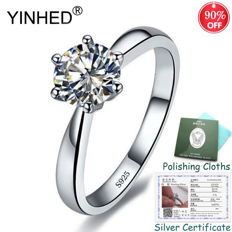 Certificado de prata enviado! Yinhed 100% 925 prata esterlina 1ct 6mm cz diamante solitaire anéis para mulher jóias de noivado zr553