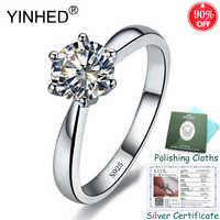 Sent Silver Certificate! YINHED 100% 925 Sterling Silver 1ct 6mm CZ Diamant Solitaire Rings for Women Engagement Jewelry ZR553