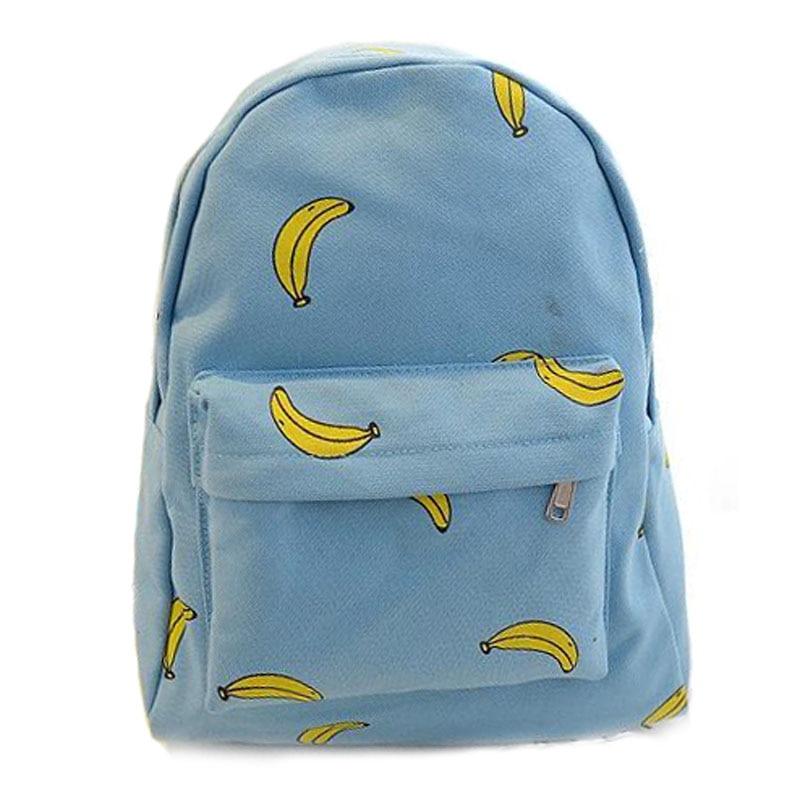 Banana Backpack 2016 Ice Cream Canvas Banana Shoulder Bag Student Printing Backpack Leisure School Bags For Teenage Girls harajuku style ice cream printing backpack high middle school student shoulder bag backpack for teenager girls casual travel bag