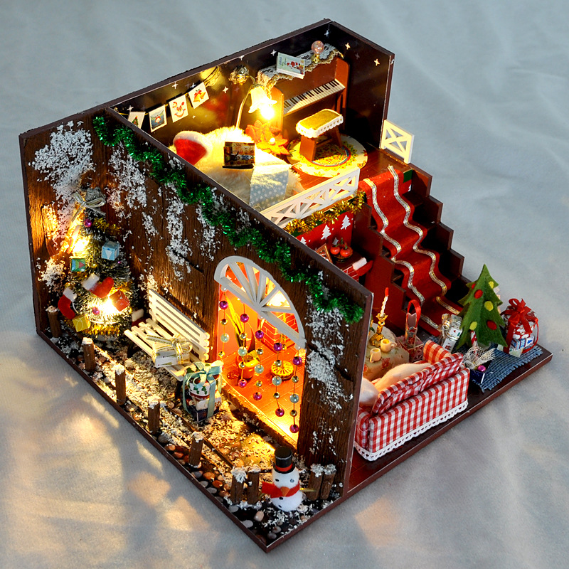 Dolls & Stuffed Toys Selfless Diy Dollhouse For Boy & Girl Diy Wooden Dolls House With Led Light Diy Furniture Kits Diy Gift Crafts Toys For Christmas Attractive Appearance Doll Houses