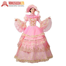 Hot masquerade marie antoinette dress perang saudara southern belle ball gown pemeragaan pakaian rococo prom gown(China)