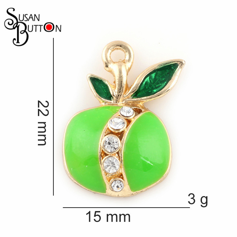 50pcs/lots Crystal Peach Charms Green enamel Fruit alloy Dangle Charms Jewelry DIY necklace dangle pendants jewelry making