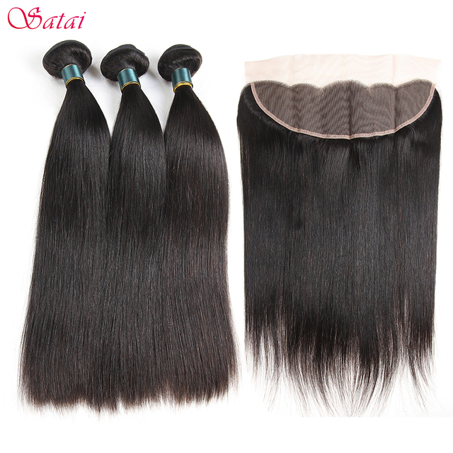 Satai Brazilan Straight Hair Human Hair 3 Bundles With Frontal Best Brazilian Hair Frontal With Bundles Non Remy Hair Extension 1