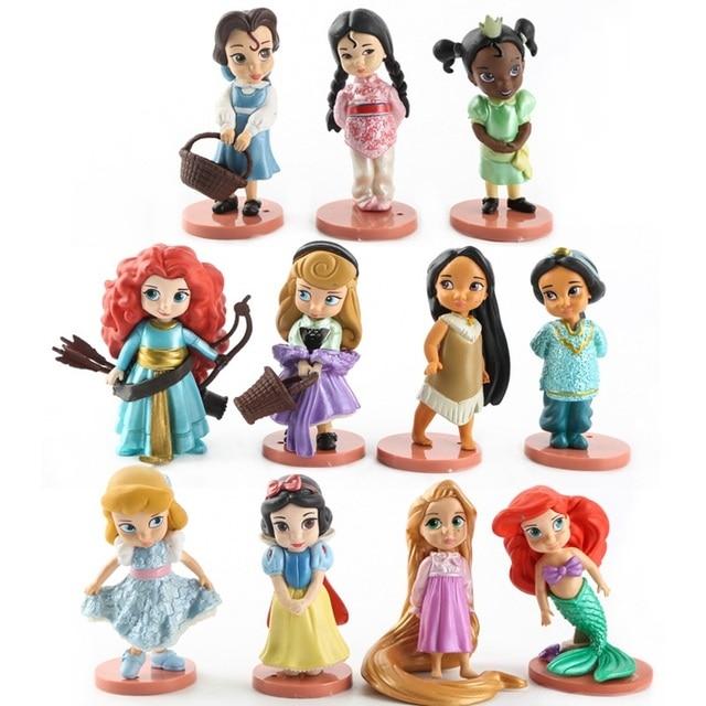דיסני 11 יחידות Moana שלג לבן נסיכת מרידה פעולה דמויות מתנות צעצועי ילדי בובות צלמיות אנימה בת ים טיאנה יסמין מולאן