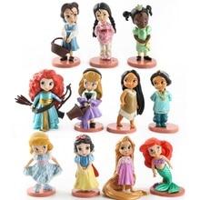 Disney 11pcs Moana Snow White Merida Princess Action Figures Mulan Mermaid Tiana Jasmine Doll Anime Figurines Kid Toy model gift
