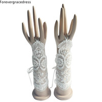 Forevergracedress New Romantic White Ivory Bridal Gloves For Wedding Bride Cheap Lace Applique Accessories ST06
