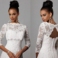 Boat Neck White Applqiues Lace Bolero Jacket Top For Wedding Bridal Dresses Special Occasion 3/4 Sleeves