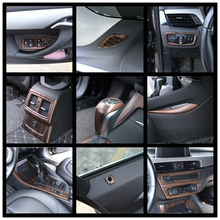 Luxury Wood Grain ABS Chrome Trims Interior Cover Trim Frame Decoration Car Styling For BMW X1 F48 2016 2017 2018 black ash wood car abs chrome console gear shift decoration cover trim for bmw x1 f48 2016 2018 x2 f47 2018 lhd