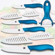"""Cuchillo de cerámica 3 """"de pelado 4"""" utilidad de 5 """"corte de 6"""" cuchillo cocinero y un conjunto de herramientas de cocina pelador de cuchillos de cocina con cuatro cubierta blanca"""