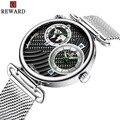 Мужские наручные часы  стальные  серебристые  нарядные часы  Топ бренд  часы  мужские  модные  Двойные Кварцевые наручные часы  люксовый брен...