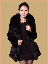 EMS Free shipping new spring  whole skin rabbit fur coat with fox fur collar women long full pelt  fur jacket plus size