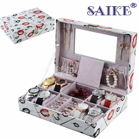 Big Size Watch And Jewelry Boxes Fashion MDF And PU Storage Mixed Box White Gift Watch Boxes Fashion Display Box M022Big Size Watch And Jewelry Boxes Fashion MDF And PU Storage Mixed Box White Gift Watch Boxes Fashion Display Box M022