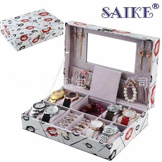 Grande taille montre et boîtes à bijoux mode MDF et PU stockage boîte mixte blanc cadeau montre boîtes mode affichage boîte M022