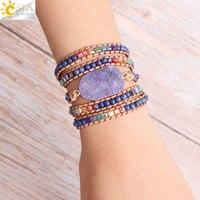 Разноцветные браслеты CSJA из натурального камня, кожаные браслеты для девочек, фиолетовая Друза, кварцевые разноцветные бусы, браслет ручно...