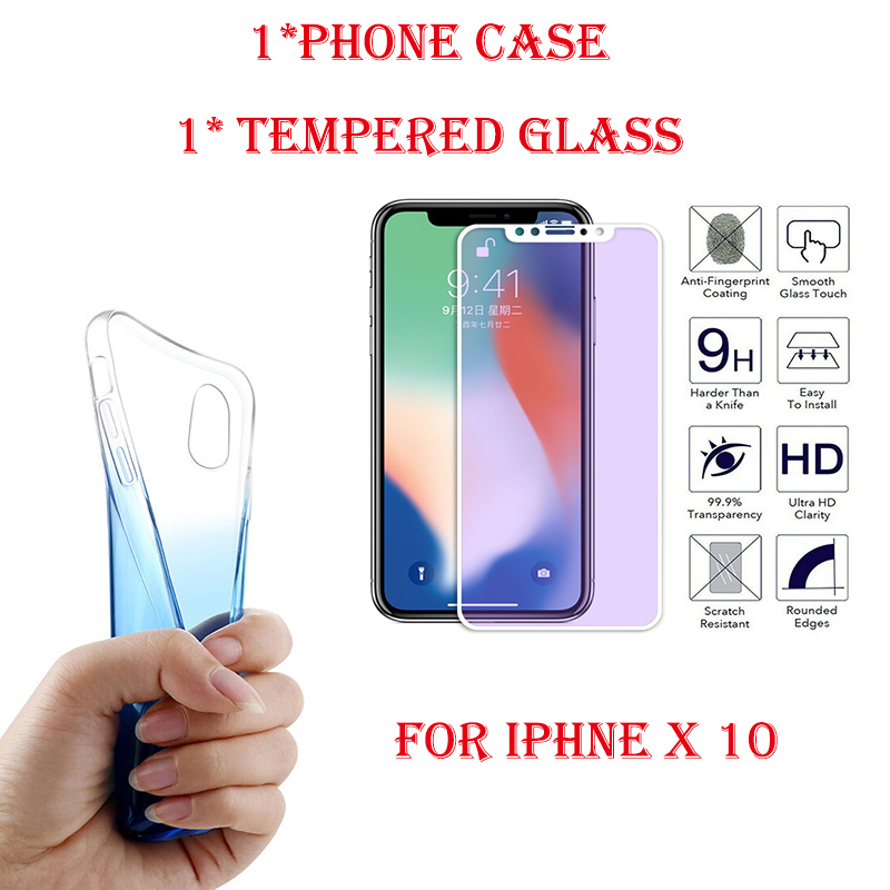 Case for IPhone X10 Gradient Color Ultra Thin Slim TPU Cover Case and Purple Light White Edge Violet Tempered Glass 9H Film