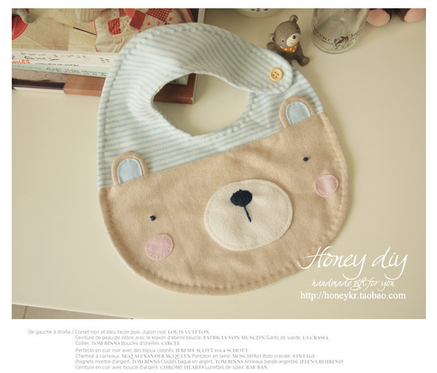 Honey material diy kit the ocean blue bear baby bibs bib finished products  ,free shipping