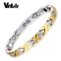 Men S Titanium Magnet Bracelet Balance Health Energy Bio Magnetic Bracelets Men IP Gold Silver Plating