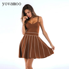 Yovamoo Womens Knitted Dress 2018 Fashion Color Block Summer Striped Knit Spaghetti Strap Sexy Vintage Plus Size Dresses