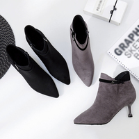 Lianhuaxiang hot sell New Fashion Casual Suede Women Shoes Basic Boots Sexy cusp Fitted women's winter boots Outwear Shoe