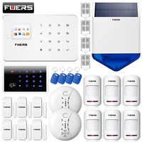 FUERS G18 GSM 99 Senza Fili TFT Tastiera Dell'esposizione di Sicurezza del Sistema di Allarme APP di Controllo Con Sirena Solare di Movimento Sensore Porta FAI DA TE kit