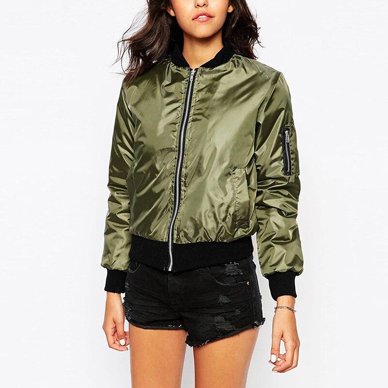 2016 Autumn Winter Bomber Jacket Women Aviator Jacket Army Green ...