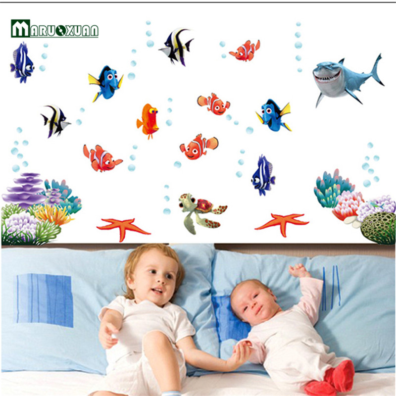 Maruoxuan Cartoon Sea Fish Wall Stickers For Shower Tile Stickers Bathroom  Home Decor Diy Children Kids