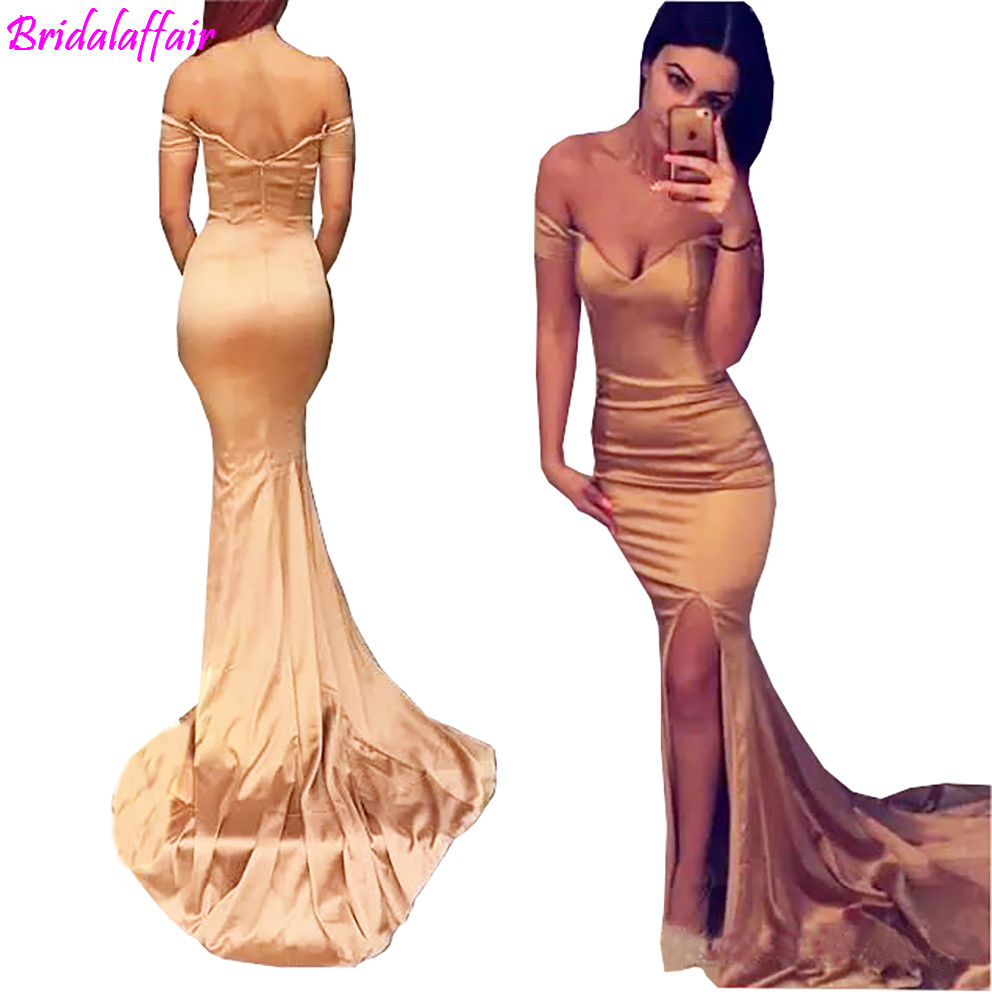 New Rose Gold Off Shoulder Long   Prom     Dresses   Sexy Mermaid Side Split Evening   Dresses   Wear Cheap Formal Floor Length Party Gown