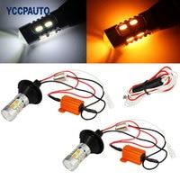1156 P21W BA15S PY21W BAU15S White Amber Switchback LED Bulbs Kit 5630 20SMD Car Turn Signal