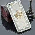 Горный хрусталь Корона чистый жемчуг bling задняя крышка мода прозрачный роскошный телефон чехол для iphone 6 6 s PT1639