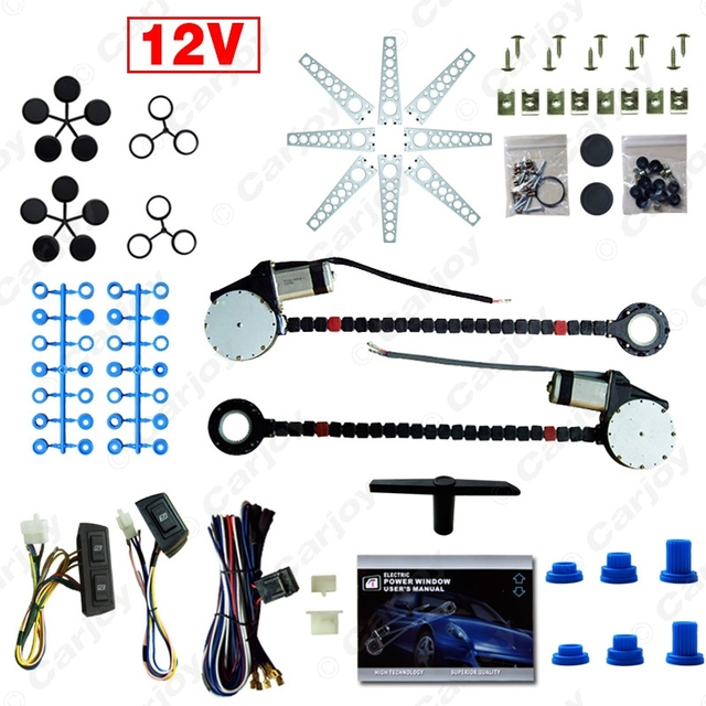 Car Auto Universal 2-Doors Electric Power Window Kits with 3pcs/Set Switches and Harness  #CA902