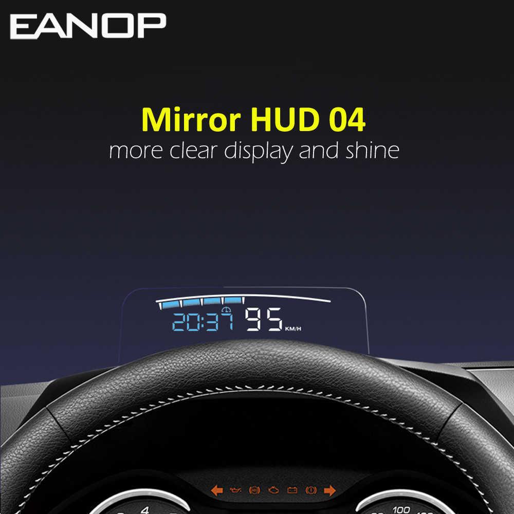 Eanop HUD Cermin 04 Mobil Kepala Up Display Kaca Depan Kecepatan Proyektor Keamanan Alarm Suhu Air Overspeed Rpm Tegangan