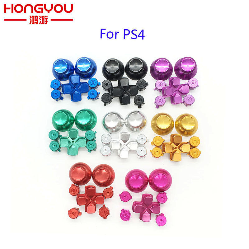 20Set Metal Bullet Buttons ABXY Buttons + Thumbsticks Thumb Grip + Aluminum Dpad for Sony PS4 Game Controller Gamepad Mod Kit