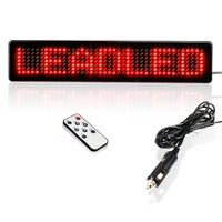 Red 12V LED Car Sign Scrolling Display Board With Remote Could Store 9 Pieces Of Information